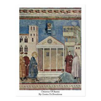 Citizens Of Assisi By Giotto Di Bondone Postcard