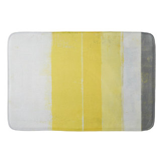 'Citric' Grey and Yellow Abstract Art Bath Mat