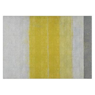'Citric' Grey and Yellow Abstract Art Cutting Board