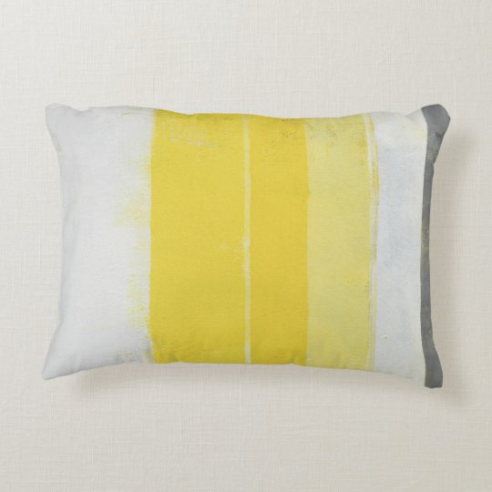 'Citric' Grey and Yellow Abstract Art Decorative Pillow