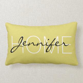 Citrine color home monogram lumbar pillow