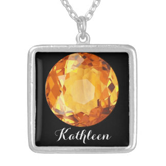 Citrine Orange November Birthstone Name Silver Plated Necklace