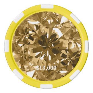 Citrine Yellow Gem Stone Poker Chip Stripe Edge