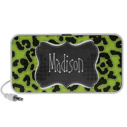 Citron Green Leopard; Vintage Chalkboard PC Speakers