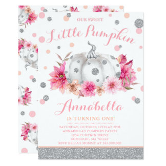 Citrouille d'argent de rose d'invitation carton d'invitation  12,7 cm x 17,78 cm