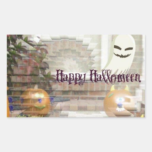 Citrouilles et fantôme heureux de Halloween Autocollants En Rectangle
