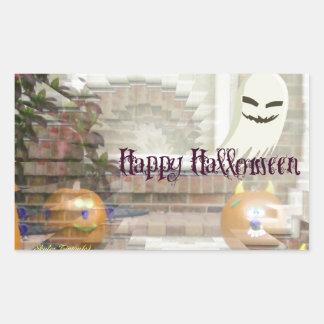 Citrouilles et fantôme heureux de Halloween Sticker Rectangulaire