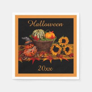 Citrouilles et tournesols heureux de Halloween Serviettes Jetables