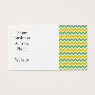 Citrus and Lime Chevron Yellow Green Zigzags Business Card