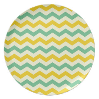 Citrus and Lime Chevron Zigzags Yellow Green Dinner Plate