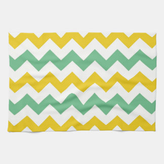 Citrus and Lime Chevron Zigzags Yellow Green Kitchen Towel