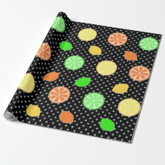 Citrus Bliss in Black Wrapping Paper