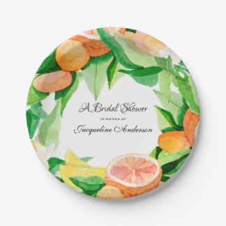 Citrus Bridal Shower Tea Party Orange Lemon Leaf Paper Plate