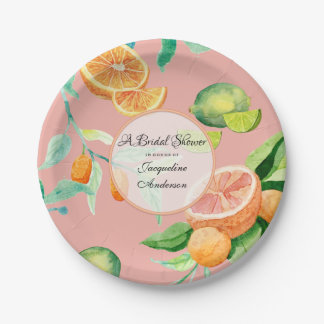 Citrus Bridal Shower Tea Party Orange Pink Leaf Paper Plate