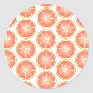 Citrus Fruit Print - Grapefruit Classic Round Sticker
