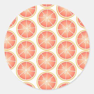 Citrus Fruit Print - Grapefruit Round Sticker