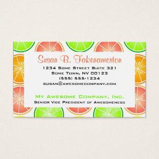 Citrus Fruit Print - Lemon Lime Orange Grapefruit Business Card