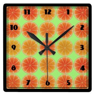 Citrus Fruit Square Wall Clock