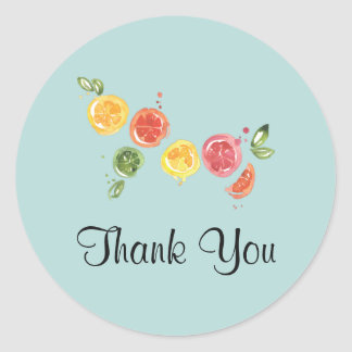 Citrus Fruits in Watercolor Thank You Classic Round Sticker