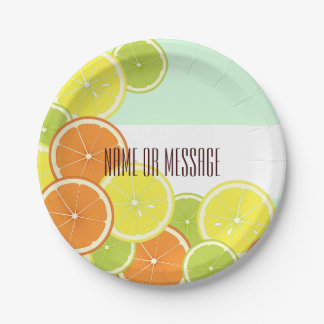 Citrus Fruits Pattern Cute Modern Summer Party Paper Plate