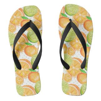 Citrus Fruits Watercolor Flip Flops