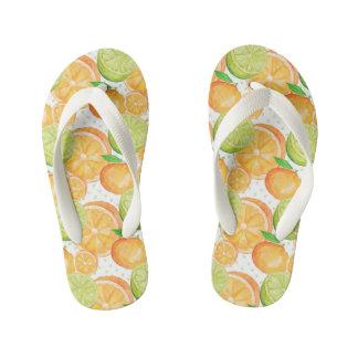 Citrus Fruits Watercolor Kid's Flip Flops