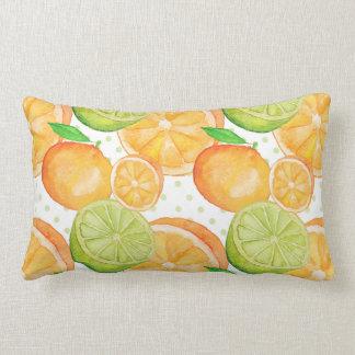 Citrus Fruits Watercolor Lumbar Pillow