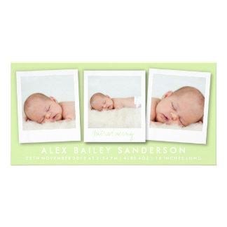 Citrus Green Birth Announcement with 3 Photos Custom Photo Card