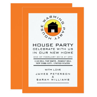 Citrus House Logo, Housewarming Party, House Party Card