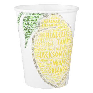 Citrus illustrated with cities of Florida State US Paper Cup