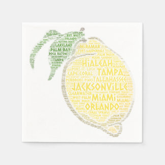 Citrus illustrated with cities of Florida State US Paper Napkin