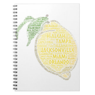 Citrus illustrated with cities of Florida State US Spiral Notebook