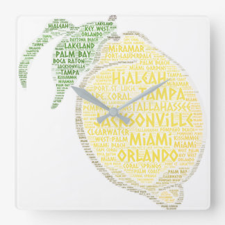 Citrus illustrated with cities of Florida State US Square Wall Clock