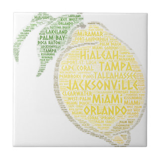 Citrus illustrated with cities of Florida State US Tile