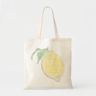 Citrus illustrated with cities of Florida State US Tote Bag