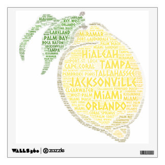 Citrus illustrated with cities of Florida State US Wall Sticker