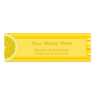 Citrus Lemon and Stripes Dietician Nutritionist Pack Of Skinny Business Cards