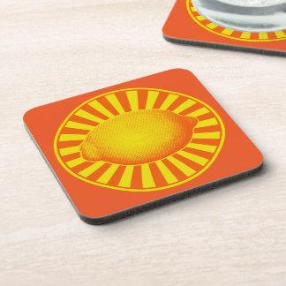 Citrus Lemon Emblem Coasters
