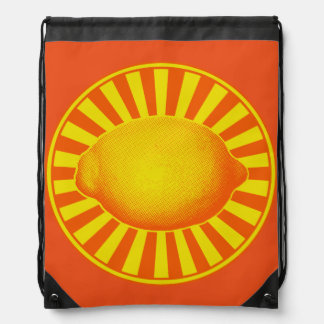 Citrus Lemon Emblem Drawstring Bag