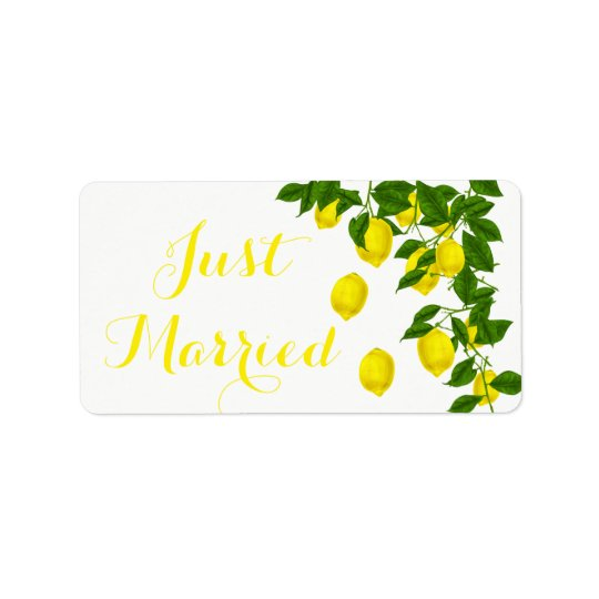 Citrus Lemon Just Married Yellow Green Wedding Label