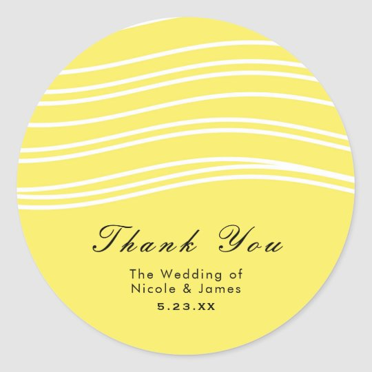 Citrus Lemon Yellow & White Wave Modern Wedding Classic Round Sticker