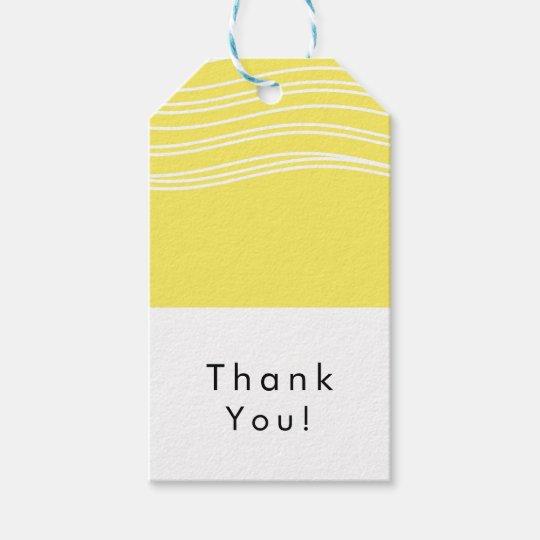 Citrus Lemon Yellow & White Wave Modern Wedding Gift Tags