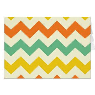 Citrus Lime Green Orange Yellow Chevron Zigzags Card