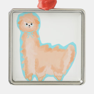 Citrus Orange Alpaca Silver-Colored Square Ornament