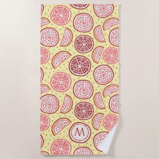 Citrus Pattern custom monogram beach towel