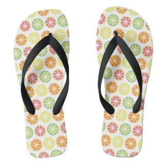 Citrus Pattern Flip Flops