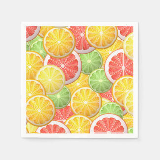 Citrus pattern - grapefruit, lemon, lime, orange disposable napkins