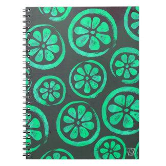 Citrus Slice Dark Mint Spiral Notebook