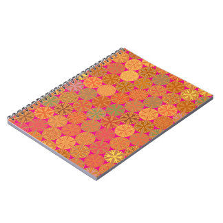 Citrus Slices Abstract on Hot Pink Spiral Notebook