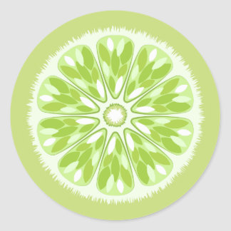 Citrus Slices Green Lime Classic Round Sticker